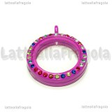 Ciondolo Apribile Tondo in metallo smaltato fucsia strass multicolor 29mm
