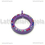 Ciondolo Apribile Tondo in metallo smaltato viola strass multicolor 29mm