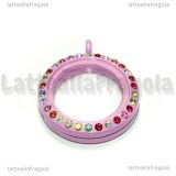 Ciondolo Apribile Tondo in metallo smaltato rosa strass multicolor 29mm