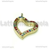 Ciondolo Apribile Cuore in metallo dorato strass multicolor 34x29mm