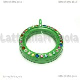 Ciondolo Apribile Tondo in metallo smaltato verde strass multicolor 29mm